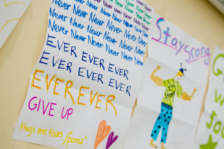Never, never, never ever, ever, ever, give up by the national cancer institute on unsplash
